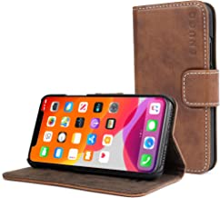 Snugg iPhone 11 Wallet Case – Leather Card Case Wallet with Handy Stand Feature – Legacy Series Flip Phone Case Cover in Distressed Brown