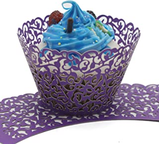 UNIQLED Filigree Artistic Bake Cake Paper Cups Little Vine Lace Laser Cut Liner Cupcake Wrappers Baking Cup Muffin Holder Case for Wedding Birthday Party Decoration (60, Purple)