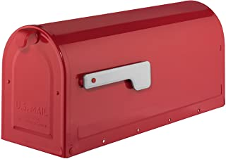 Best ARCHITECTURAL MAILBOXES 7600R Red with Silver Flag MB1 Post Mount Mailbox, Medium Review