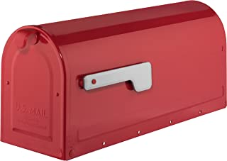 ARCHITECTURAL MAILBOXES 7600R Red with Silver Flag MB1 Post Mount Mailbox, Medium,