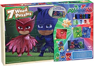 Cardinal Industries PJ Masks 7 Wood Puzzles in Wooden Storage Box (Styles Will Vary)
