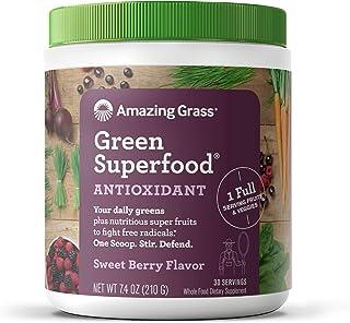 Best Amazing Grass Green Superfood Antioxidant: Super Greens Powder with Spirulina, Elderberry, Bilberry & Probiotics, Sweet Berry, 30 Servings Review