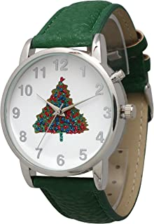 Christmas Leather Strap Watch with Christmas Musical Play Gold or Silver Tone