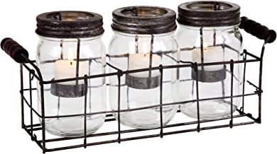 Home Essentials 4543 Mason Jars Votive With Metal Rack in GB, Set of 3 Clear