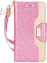 FYY Leather Case with Mirror for iPhone 8/iPhone 7, Leather Wallet Flip Folio Case with Mirror and Wrist Strap for iPhone 8/iPhone 7 LightPink