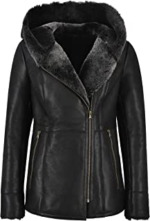 Smart Range Leather Ladies Sheepskin Jacket Shearling B3 Flying Grey Genuine Fur Hoodie Jacket NV39