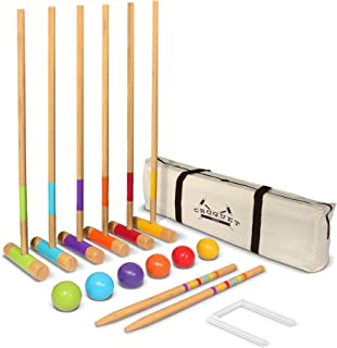 GoSports Six Player Croquet Set for Adults & Kids - Modern Wood Design with Deluxe (35