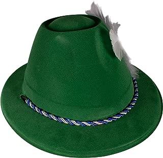 Oktoberfest Green Velour Alpine Costume Hat for Men & Women