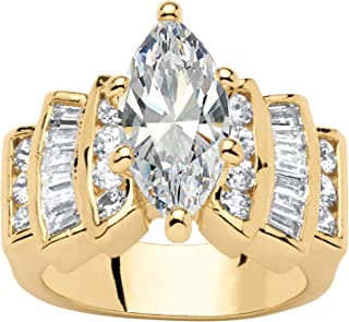 14K Yellow Gold Plated Marquise Cut Cubic Zirconia Step Top Engagement Ring