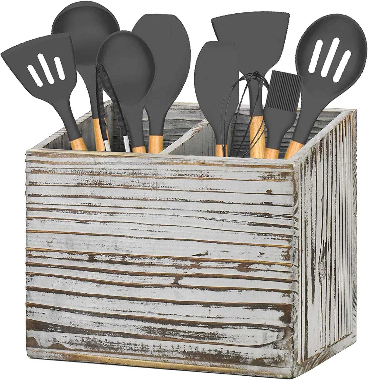 Y&ME YM Kitchen Utensil Caddy With 2 Compartments, Rustic Kitchen Utensil Holder Wood Utensil Organizer Box, Farmhouse Utensil Crock Flatware Organizers, Cutlery Storage Box For Kitchen (Grey)