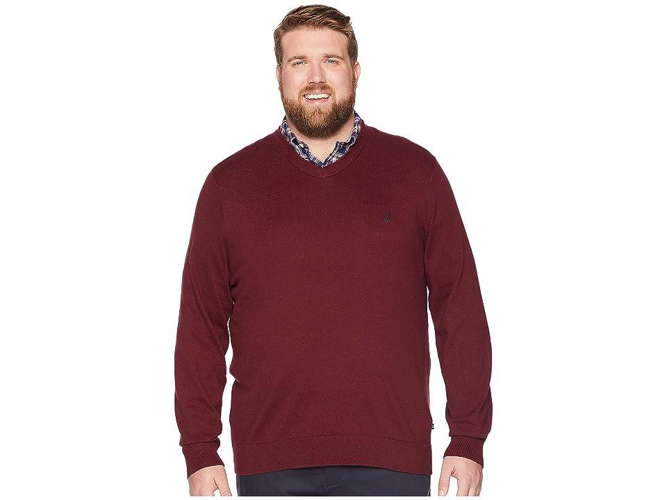 Nautica Big & Tall Big Tall Jersey V-Neck Sweater (Royal Burgundy) Men