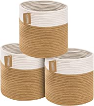 YOUDENOVA Rope Storage Basket Bins, Small Woven Basket with Handles, Decorative Cube Organizer Storage Bins for Bedroom Cl...