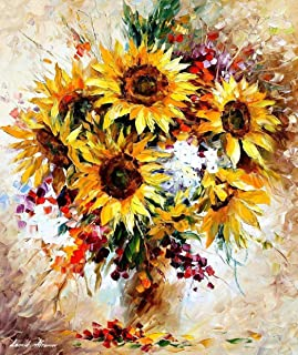 Sunflowers Of Happiness — Floral Palette Knife Flowers Oil Painting On Canvas By Leonid Afremov Studio