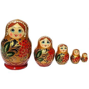 Spielzeug Katja Holzpuppe hellblau 14cm Lindenholz Handarbeit Babuschka Semenovskay Rospis Matroschka 15 Puppen