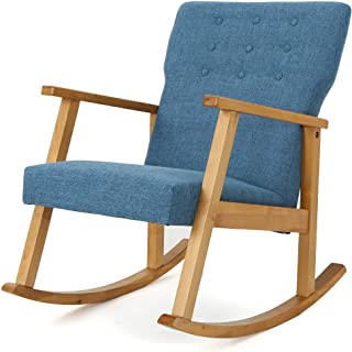 Christopher Knight Home Harvey Mid-Century Modern Fabric Rocking Chair, Muted Blue / Light Walnut