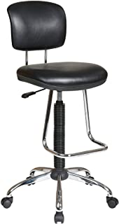 Office Star Pneumatic Drafting Chair with Casters and Chrome Teardrop Footrest, Vinyl Stool and Back