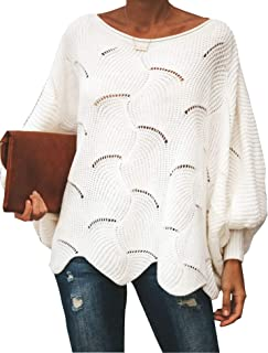 Relipop Women's Pullover Batwing Sleeve Loose Hollow Knit...