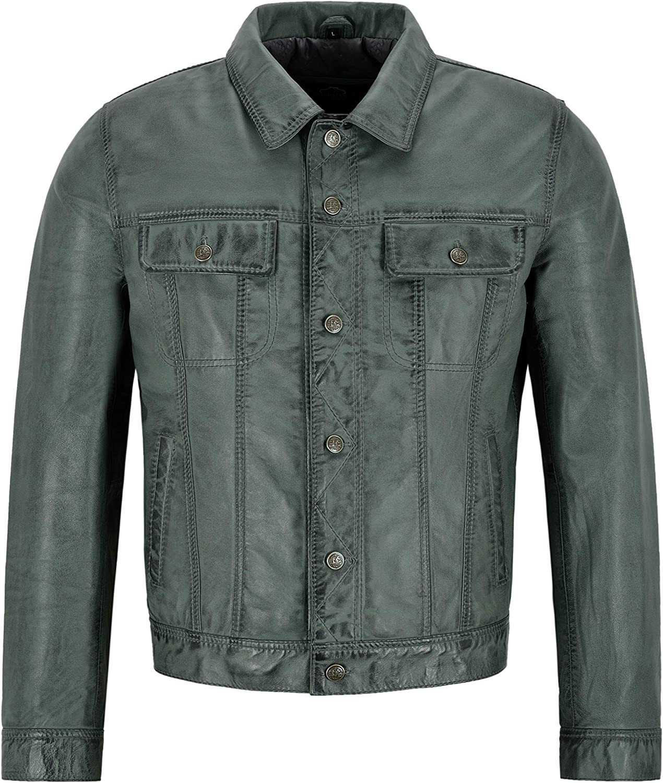Mens Trucker Leather Jacket Olive Napa Classic Western Fashion Biker Style 1280
