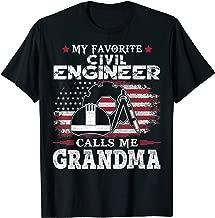My Favorite Civil Engineer Calls Me Grandma USA Flag Mother  T-Shirt
