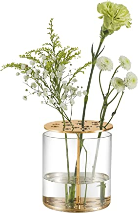 ST.LORIAN Unique Glass Flower Bud Vase,Gold Perforated Metal Display Stand Vases with Frog for Home Wedding Centerpieces Décor (Gold, 4.3x4.3)