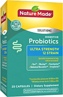 Nature Made Digestive Probiotics Ultra Strength‡ 12 Strain Capsules, 30 Billion CFU per Serving, 25 Count for Digestive Balance† (Packaging May Vary)