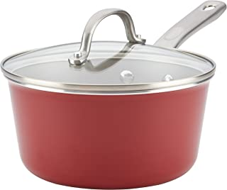 Ayesha Curry 10743 Porcelain Enamel Nonstick Covered Saucepans, Sauce pot, Small, Sienna Red