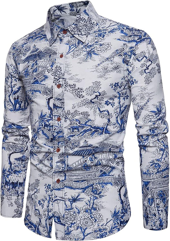 Casual Shirts for Men's Hawaiian Ethnic Printing Slim-Fit Turn-Down Long Sleeve Dress Shirt Blouse Tops