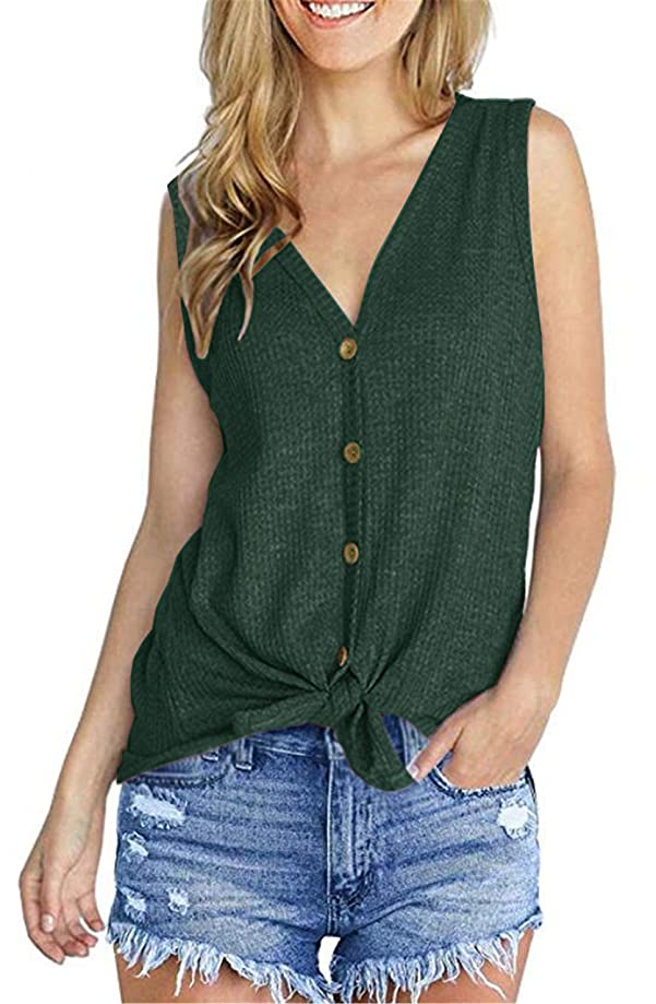 UGET Womens Loose Blouse V Neck Button Down T Shirts Tie Front Knot Casual Summer Tops