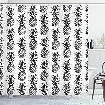 Pineapple Decor Shower Curtain Set, Artistic Hand-Drawn Style Tropical Theme Vintage Style Pineapple Fruit Pattern, Bathro...