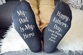 Amo Distro, Calcetines impresos personalizados | My Dad Is My Hero | Mejor regalo para el día del padre | Happy Fathers Day from any Name