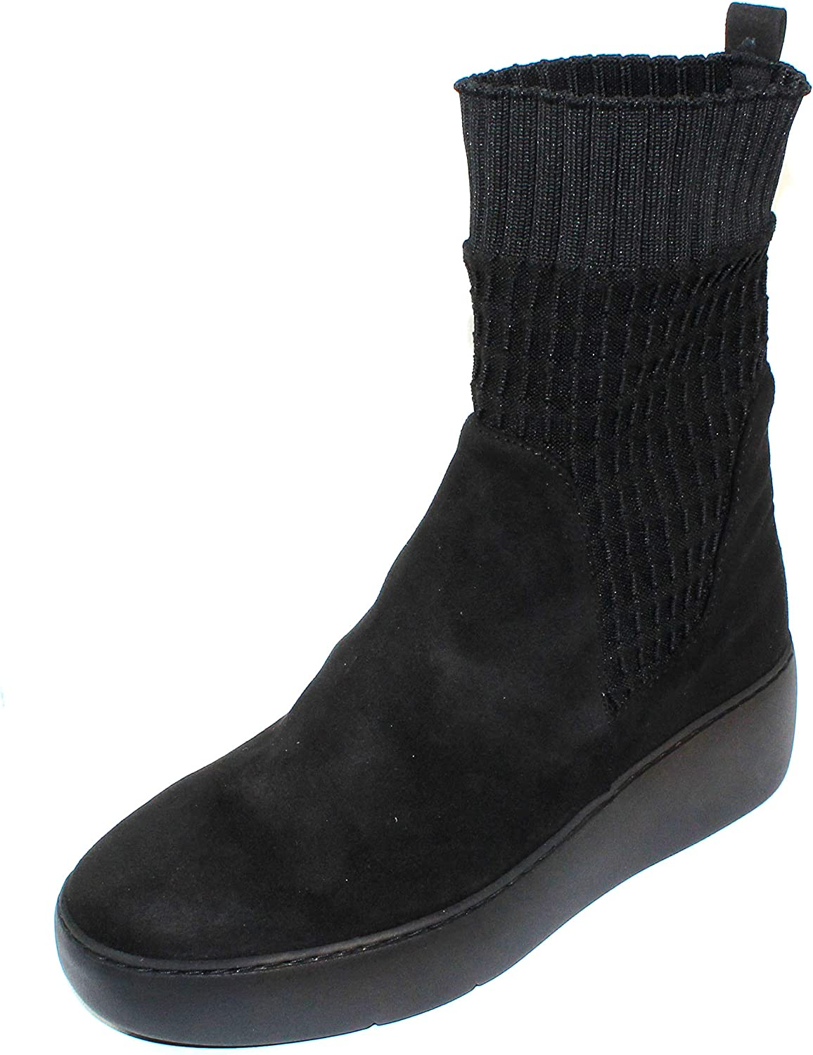 Wonders Women's A-8310 in Black Suede Stretch Fabric - Size 39 M