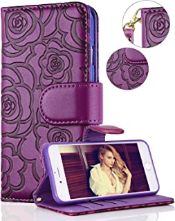 iPhone 6 Wallet Case, FLYEE iPhone 6s Premium Vintage Emboss Flower Flip Wallet Shell PU Leather Magnetic Cover Skin with Detachable Wrist Strap Case for iPhone 6/6s 4.7