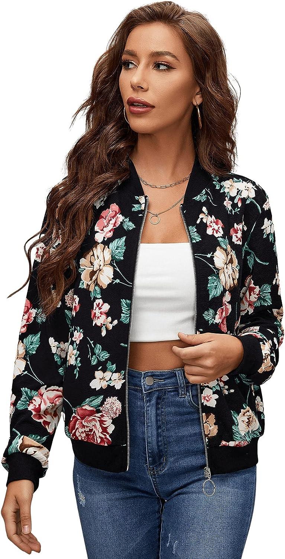 SheIn Women's Long Sleeve Floral Baseball Collar Zip Up Outerwear Bomber Jacket