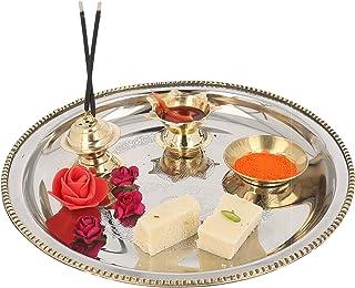 JaipurCrafts Puja Thali Set (Steel & Brass)- for Diwali Poojan/Pooja Room/Diwali Gifting