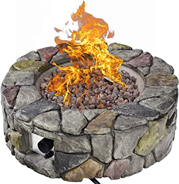 Giantex Gas Fire Pit, 28 Inch 40,000 BTU Propane Fire Pit Outdoor w/ Natural Stone, Cover, ETL Certification, Stainless-Steel