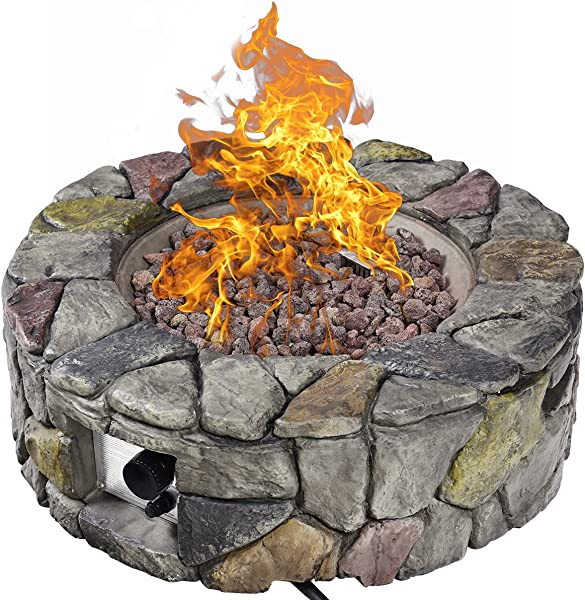 Giantex Gas Fire Pit Table Heavy Duty Outdoor Patio Natural Stone Rocks W Cover For Backyard Garden Stainless Steel Gas Burner