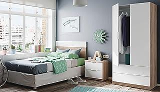 Miroytengo Pack de Muebles Dormitorio Juvenil Moderno Color Blanco y Roble Cabezal mesita y Armario