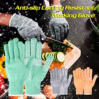 Walmeck Cutting Resistant Anti-Slip Gloves Static Proof Wear Resistant Gloves Hands Protecting Gloves
