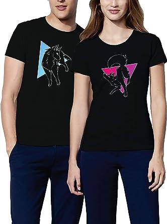 VIVAMAKE – Pareja de camisetas para hombre y mujer – Wolf and ...