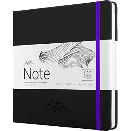 Articka Note Hardcover Sketchbook – Square Hardbound Sketch Journal – 8 x 8 Inch Art Book – 120 Pages with Elastic Closure – 180GSM Paper – Ideal for Pencils, Graphite, Charcoal, Pen