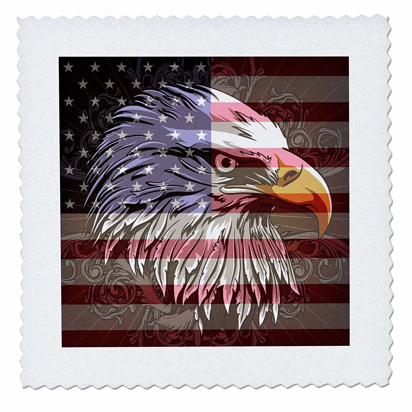 3dRose qs_116181_1 Ornate Patriotic Bald Eagle and US American Flag Pride Great for Fourth of July in Dependence Day Quilt Square, 10 by 10-Inch