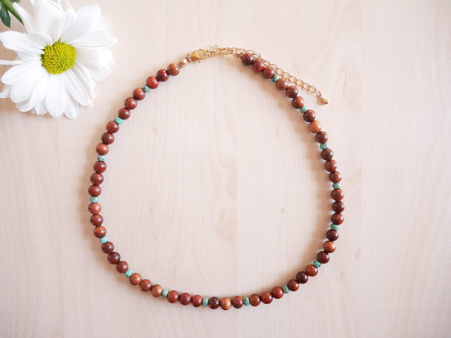 Rosewood Our shop most popular necklace - wooden natural High quality rosewood with beaded