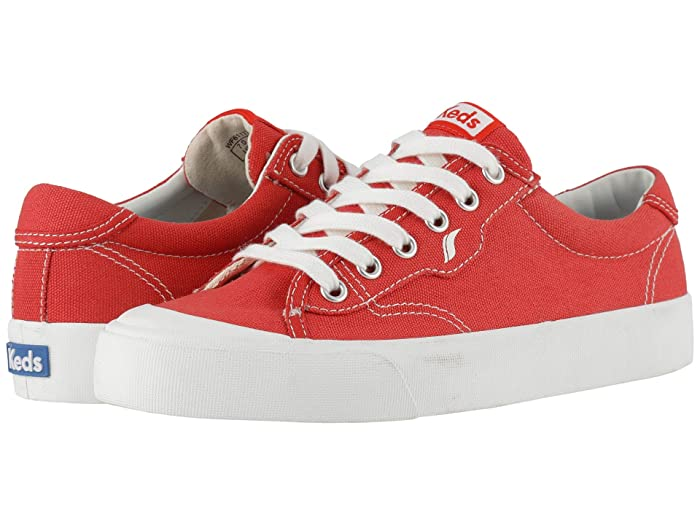 Retro Vintage Flats and Low Heel Shoes Keds Crew Kick 75 Canvas Red Canvas Womens  Shoes $59.95 AT vintagedancer.com