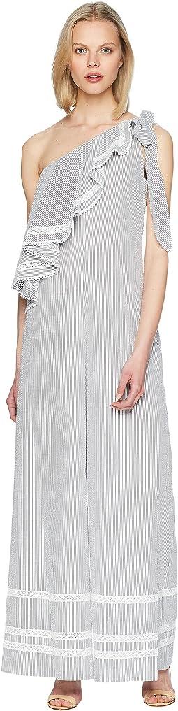 Jonathan Simkhai Striped Cotton Jumpsuit Cover-Up