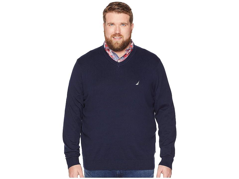 Nautica Big & Tall Big Tall Jersey V-Neck Sweater (Navy) Men
