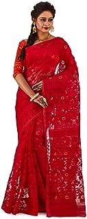 SareesofBengal Women's CottonSilk Handloom Jamdani Dhakai Saree Red
