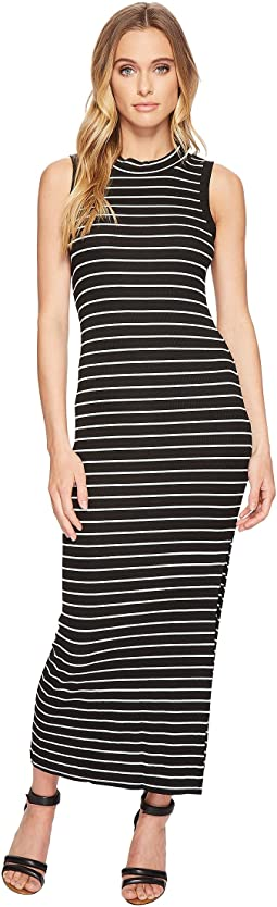 American Rose - Ella Sleeveless Striped Midi Dress with Side Slit