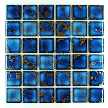 Vogue Premium Quality Square Blue Calacatta Porcelain Mosaic Glossy Tile For Bathroom Floors Walls And Kitchen Backsplashes Pool Tile Designed In Italy 12 X12 1 Square Foot Amazon Com