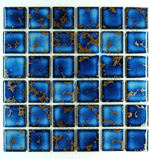 Vogue Premium Quality Square Blue Calacatta Porcelain Mosaic Glossy Tile for Bathroom Floors, Walls and Kitchen Backsplashes, Pool Tile Designed in Italy (12