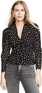 Rebecca Taylor Women's Long Sleeve Dot Vneck Silk Blouse